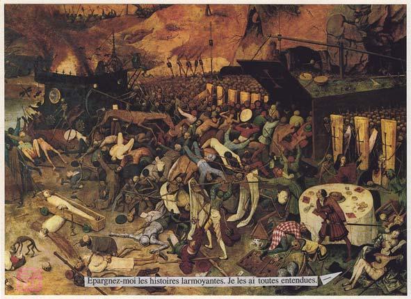 """Collage, dialogues from Un irrésistible désir (Harlequin, Azur 3437) pasted on Bruegel's """"Le triomphe de la mort"""" picture."""